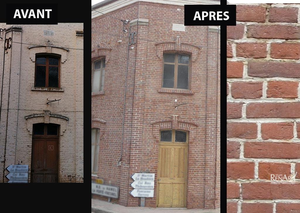 Sablage a rogommage pierre photos ateliers renard - Nettoyage des facades de maison ...