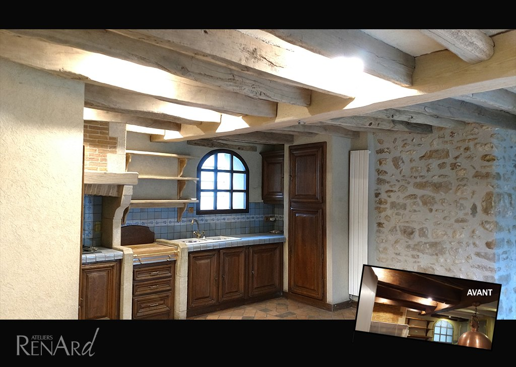 claircir des poutres anciennes affordable madriers d doubl s vieux bois des alpes eclaircir. Black Bedroom Furniture Sets. Home Design Ideas