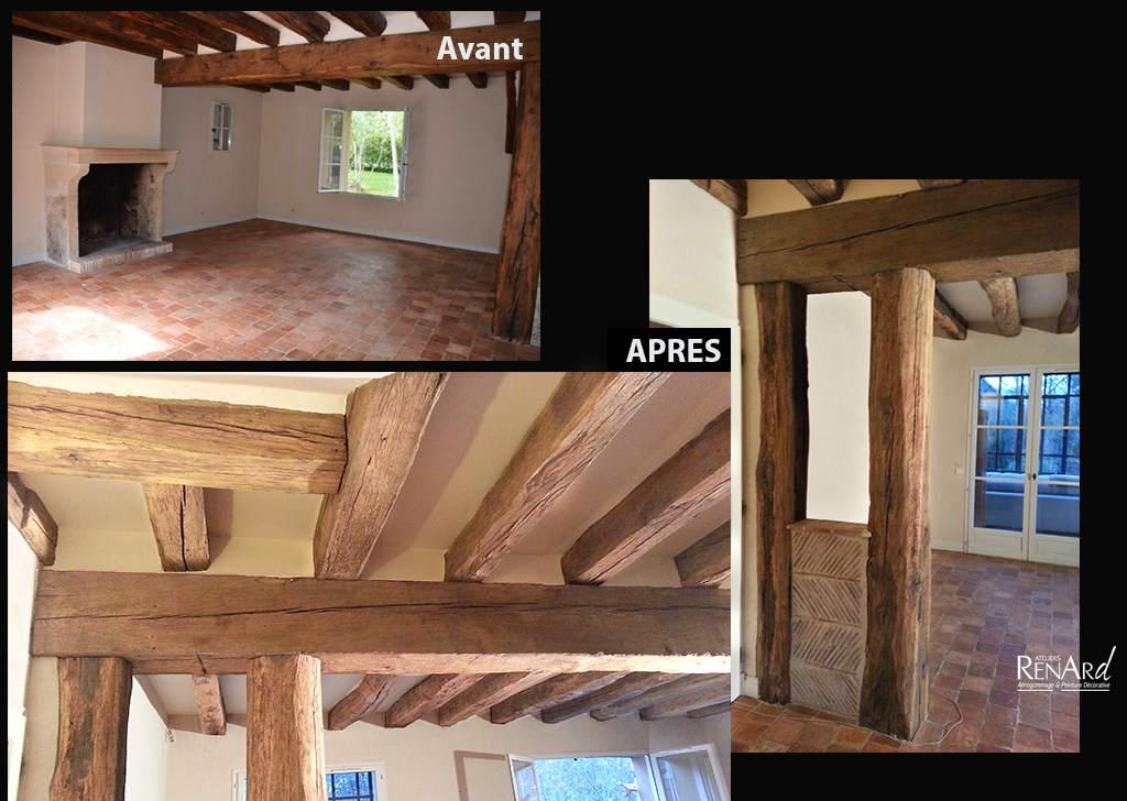poncage poutre ancienne simple plafond avec poutres apparentes peintes en noir with poncage. Black Bedroom Furniture Sets. Home Design Ideas
