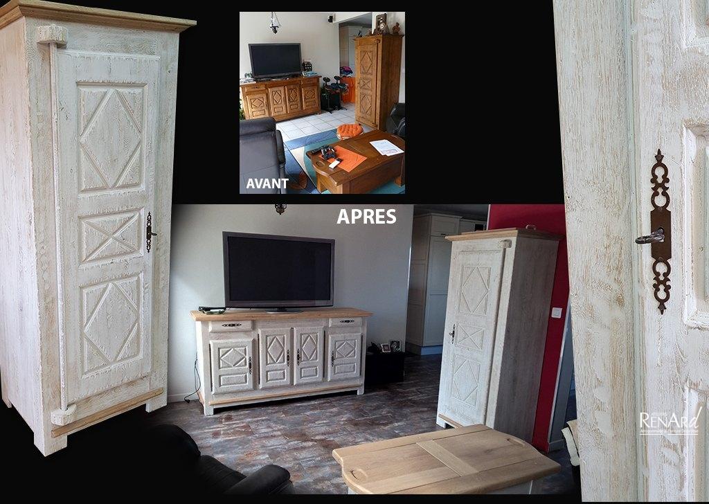 Relooking meubles galeries photos par les ateliers renard for Peinture decorative meuble bois