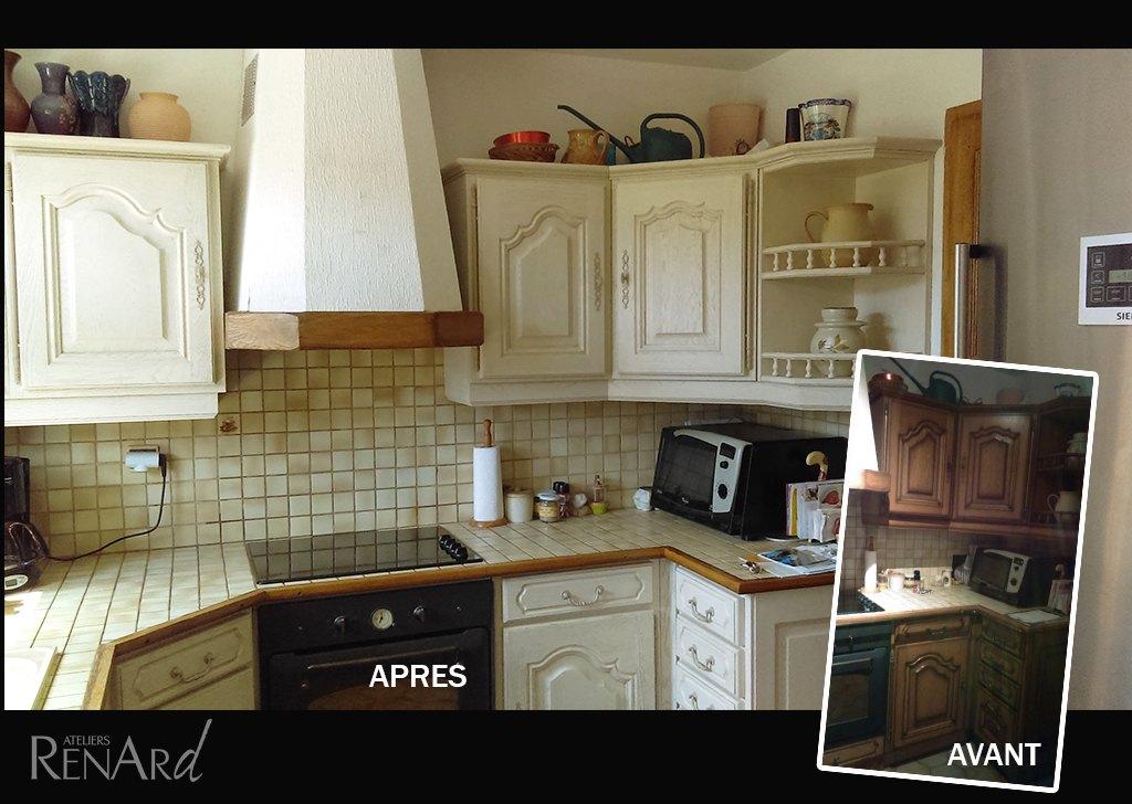 Relooking cuisine galeries photos ateliers renard essonne - Peinture essuyee meuble bois ...