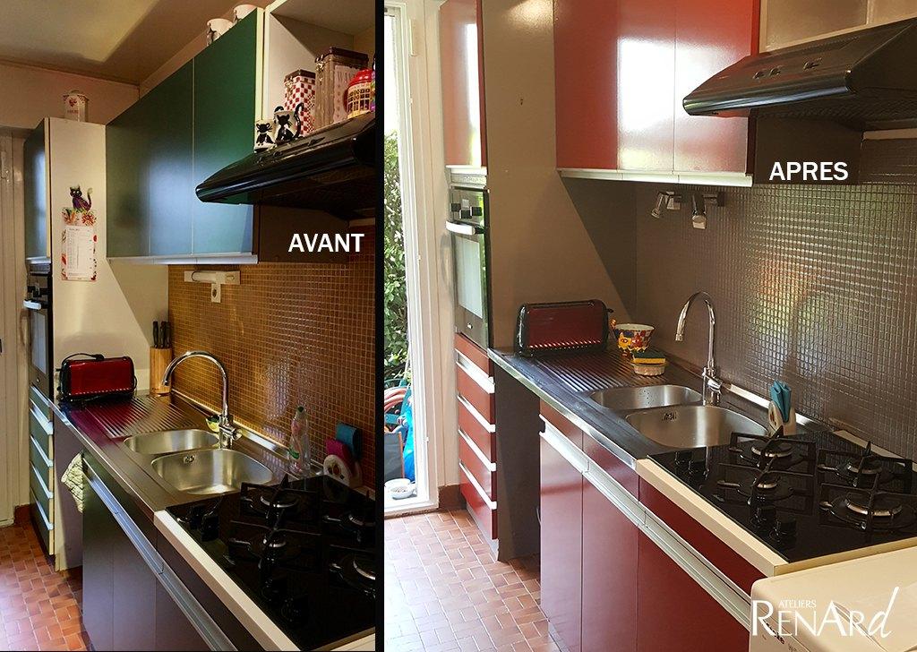 Relooking cuisine galeries photos ateliers renard essonne for Peinture sur meubles