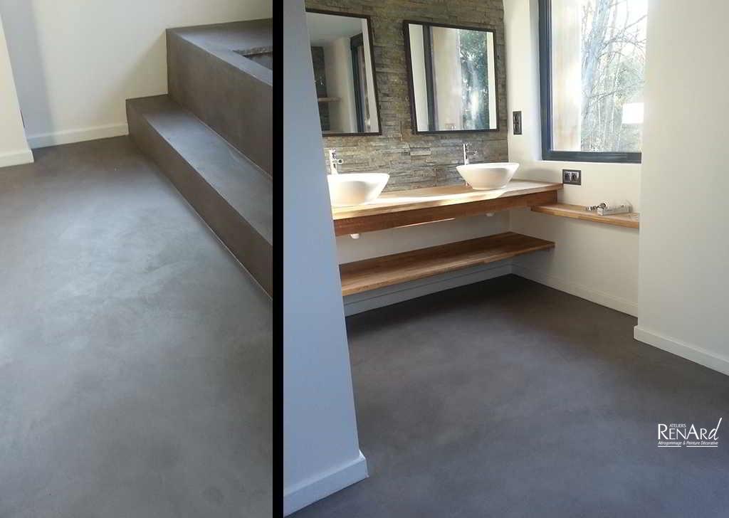 Beton mineral salle de bain nouveaux mod les de maison for Enduit beton mineral