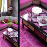 Table basse relookée rose