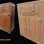 aérogommage D&co meuble frigo ancien en chêne