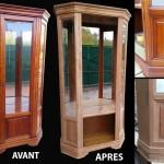 Décaper meuble vitré bois