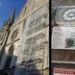Nettoyage rose église 12eme siècle par aérogommage