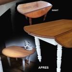 relooking table ronde en chêne